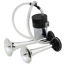 CHROME 12V CAR/VAN/TRUCK AIR HORNS DUAL TRUMPET HORN WITH COMPRESSOR TWIN TONE