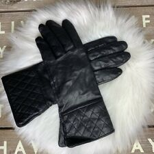 Van Raalte leather quilted cuff black gloves