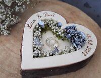 Hochzeit Ringkissen Ringhalter Herz Mille Fleurs silber für Eheringe mit Namen