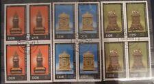 DDR Briefmarken 1975 Alte Uhren 4-er Blöcke Gummiert