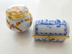 2 Del Prado Porcelain Trinket Boxes - Made in Spain & Hand Painted EP60 & EP34