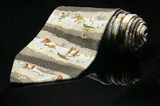 Beach Scene STRUCTURE Tie 100% Silk Made In USA Pastel Blue Brown Beige Summer🌴
