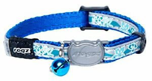Rogz Reflective Cat Collar with Breakaway Clip and Removable Bell fully adjus...