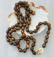 10-13 mm CHOCOLATE FRESHWATER PEARL SET. Necklace, Earrings SUPER SHINE