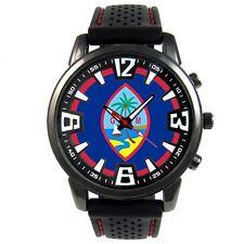 Guam Island Flag Mens Style Black Silicone Bracelet Quartz Wrist Watch S641F