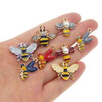 8 pcs Mix Lots Gold Metal Honey Bee Charms Enamel Plated Multi-colors Pendants