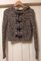 Moda International Sz S Brown Wool Blend Toggle Cropped Sweater Cardigan Pockets