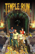 "VIDEO GAME POSTER~Temple Run Gaming Print from Iphone+Android Users 22x34"" New~"