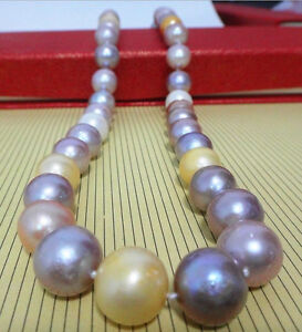 """HUGE 18""""11-12MM NATURAL SOUTH SEA GENUINE WHITE GOLD LAVENDER PEARL NECKLACE"""