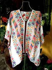 Mexican Bluson Rebozo poncho tunic multicolor top handwoven Amuzgo Frida Kahlo