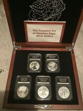 More details for the complete american eagle set five coins boxed coa