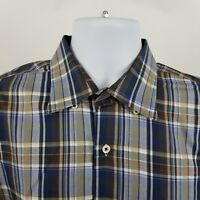 Peter Millar Mens Brown Blue Gray Plaid Check L/S Casual Button Shirt Sz Large L