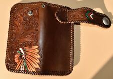 HANDMADE CARVED BROWN Native American WALLET WITH TRIBAL BUTTON SNAP WALLET