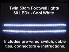 Twin 50cm White LED interior footwell lights waterproof & flexible exterior neon
