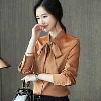 Autumn Womens Bow Tie Neck Business Office Work Career Chiffon Shirt Blouse Tops
