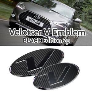 V Emblem Black Style Front Grille + Rear Trunk for HYUNDAI 11-18 Veloster Turbo