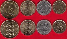 Estonia set of 4 coins: 10 senti - 1 kroon 2006-2008 UNC