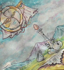 Vintage surrealist still life landscape gouache painting