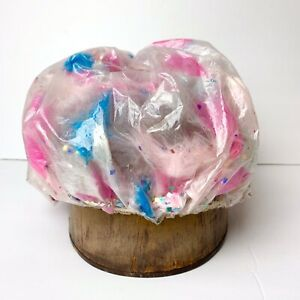 VINTAGE Shower Cap HAT Glitter Feathers Pin Up Old Hollywood Glam PINK BLUE. n