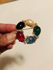 Vtg Mark Art Gold Tone Multicolor Stone/Lucite? Clear Rhinestone Pin Brooch #68