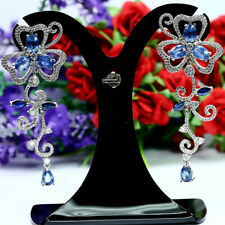 NATURAL BLUE SAPPHIRE & WHITE CZ LONG EARRINGS 925 STERLING SILVER