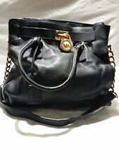 66c810b4660a Michael Kors Hamilton Black Leather Purse Tote Handbag Lock & Key Bag  Satchel