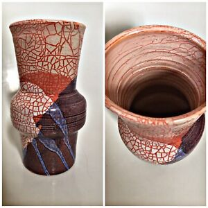 Vintage Studio Pottery Vase Red Clay Hand Crackle Affect Decorated 7 Inch