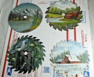 "Lot of 4 Vintage Hand Painted Circular Saw Blades Folk Art 7"" Barn Bird Mountain"