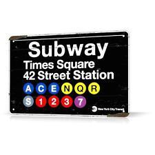 METAL TIN SIGN NEW YORK SUBWAY Times Square Manhattan NY Decor Home Wall Garage