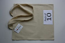 Cotton Calico Shopping Bag Long Handle Pack of 10