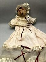 OOAK Teddy Bear in an Extra Long Victorian Dress, Lace and Burgundy Ribbons