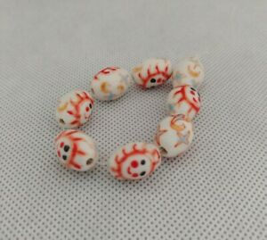 8 Porcelain 11x16mm Oval Face Beads handpainted