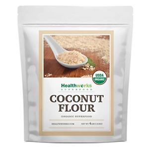 Healthworks Coconut Flour Unrefined Raw Organic 64 Ounces / 4 Pounds | Certified