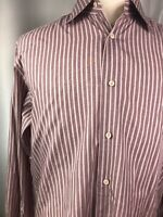 Ermenegildo Zegna Mens Button Up Shirt Size 42 Made In Turkey 16.5 Striped