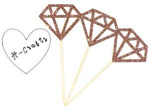 12 Rose Gold Diamond Cupcake Topper Wedding Engagement