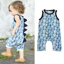 Toddler Infant Baby Boy Girl Dinosaur Zipper Rompers Jumpsuit Outfit Clothes G0