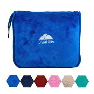 BlueHills Premium Soft Large Travel Blanket Pillow Airplane Blanket - Royal Blue