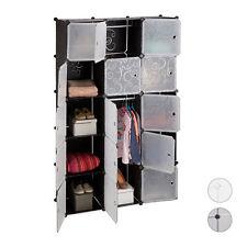 Regalsystem Kleiderschrank 11 Fächer, 2 Kleiderstangen, DIY Steckregal Garderobe