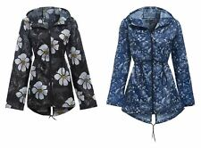 Womens Plus Size Lightweight Hooded Zip Floral Rain Coat Ladies Kagool Jacket