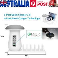 5 USB Ports Quick USB Charger 3.0 Charging Dock Station Mushroom LED Light Stand