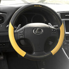 2017 Black Yellow Slip On Style Steering Wheel Cover Perfect Fit Long Lasting