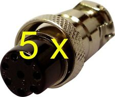 FIVE x 8 Pin Microphone Plugs female mic socket for CB & Ham Amateur Radio