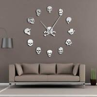 Skull Heads DIY Horror Wall Art Giant Wall Clock Big Needle Frameless SKULL