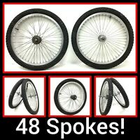 "20"" Bicycle Alloy Wheel Set 48 spokes Front & Rear, 1.95"" Tire BMX Bike GT Haro"
