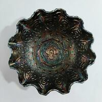 VTG Fenton Black Persian Medallion Carnival Glass Ruffled Bowl Iridescent