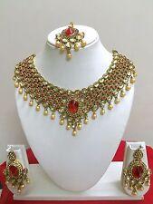 Indian Bollywood Diamante Kundan Pearl Gold Plated Fashion Bridal Jewelry Set