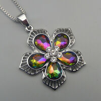 Women's Multi-Color Crystal Flower Pendant Betsey Johnson Long Necklace
