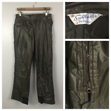 Vintage 1950s 1960s Mod Brown Ski Outdoor Pants with Full Zipper Sides M/L