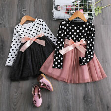 Baby Girl Casual Dress Long Sleeve Polka Dots Junior Child Party School Wear 6T