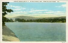 "CATSKILL MTNS GREEN LAKE NEW YORK NY ""LAKE FROM EAST SHORE"" UNUSED W/B POSTCARD"